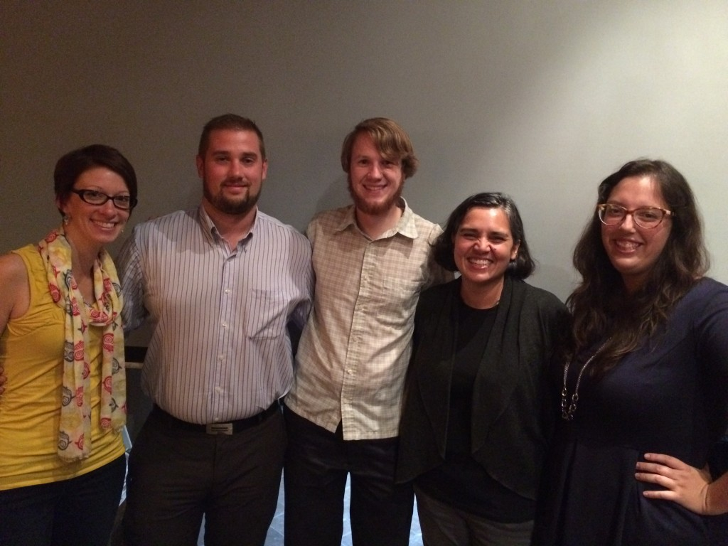 T.J. Auer, Ford City Neighbourhood Renewal Community Planner; Laura Tucker, Pathway to Potential Marketing and Community Engagement Manager, Alex B. Hill, DETROITography; Mita Williams, Open Data Windsor Essex Lead; Sarah Morris, Managing Director of Hackforge