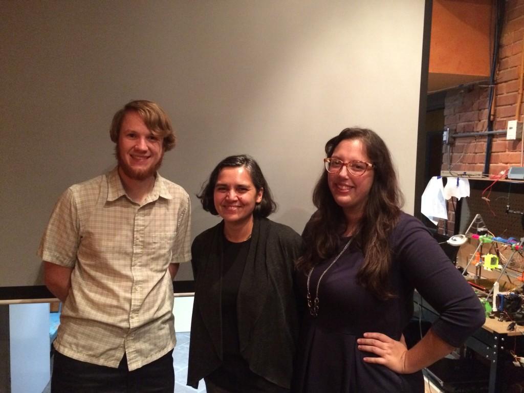 Alex B. Hill, DETROITography; Mita Williams, Open Data Windsor Essex Lead; Sarah Morris, Managing Director of Hackforge